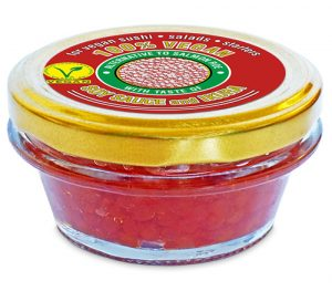 100% vegan alternative to salmon roe, with the taste of soy sauce and ikura
